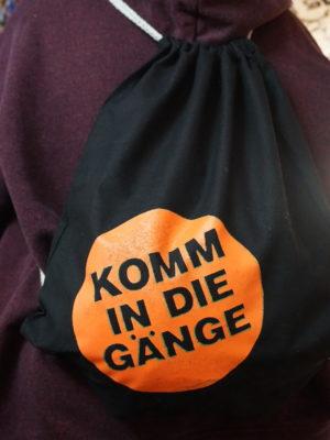 Beutel KOMM IN DIE GÄNGE orange/grün